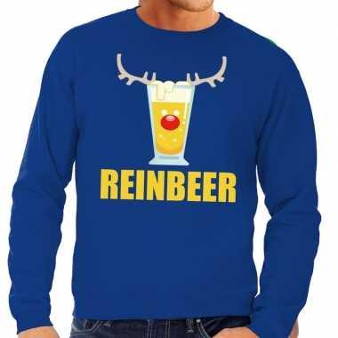 Foute kersttrui blauw biertje heren