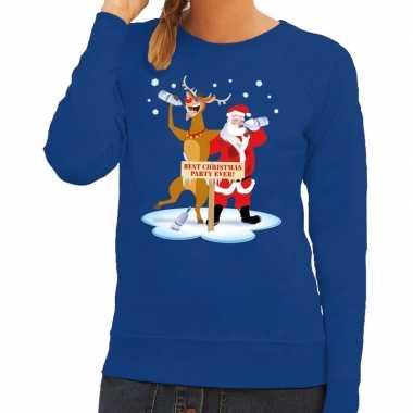 Foute kersttrui blauw een dronken kerstman rudolf dames