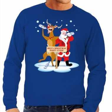 Foute kersttrui blauw een dronken kerstman rudolf heren
