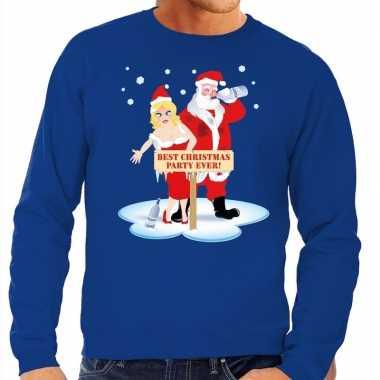 Foute kersttrui blauw een dronken kerstman zijn vrouw heren