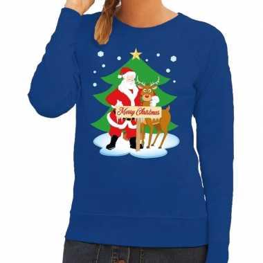 Foute kersttrui blauw kerstman rudolf dames