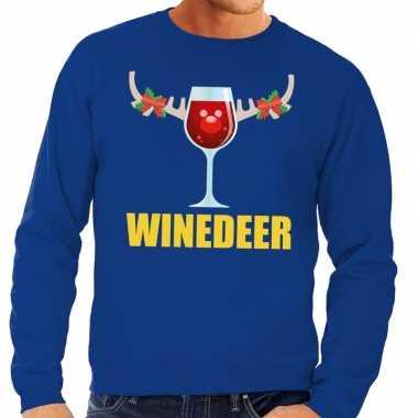 Foute kersttrui blauw wijntje heren