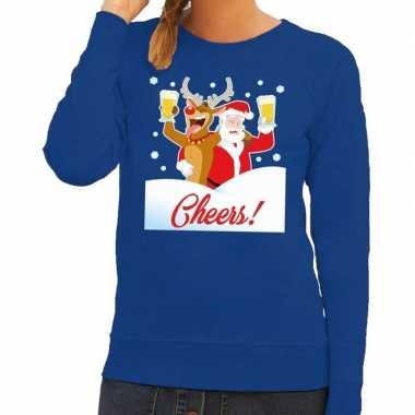 Foute kersttrui cheers dronken kerstman rudolf dames