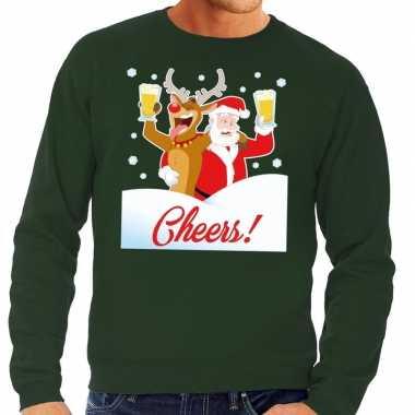 Foute kersttrui cheers dronken kerstman rudolf heren