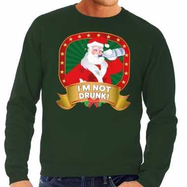 Foute kersttrui groen dronken kerstman drankfles heren