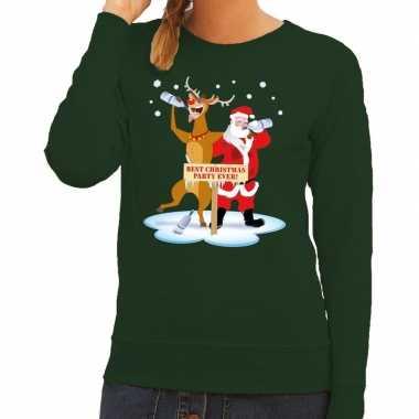 Foute kersttrui groen een dronken kerstman rudolf dames