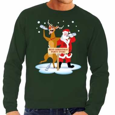 Foute kersttrui groen een dronken kerstman rudolf heren