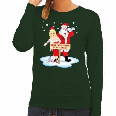 Foute kersttrui groen een dronken kerstman zijn vrouw dames