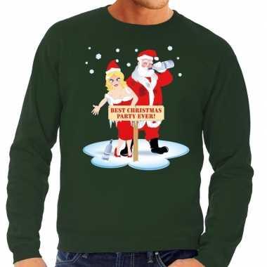 Foute kersttrui groen een dronken kerstman zijn vrouw heren
