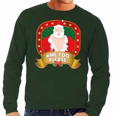 Foute kersttrui groen horny kerstman me please heren