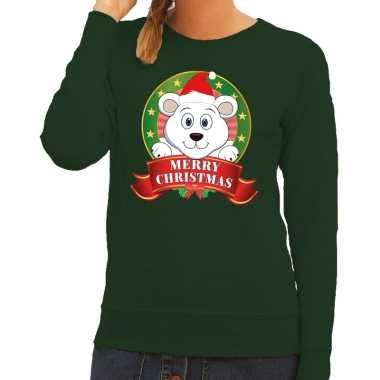 Foute kersttrui groen ijsbeertje dames