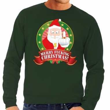 Foute kersttrui groen kerstman middelvinger merry fucking christmas