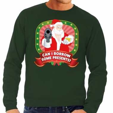 Foute kersttrui groen kerstman pistool can i borrow some presents he