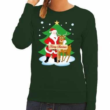 Foute kersttrui groen kerstman rudolf dames