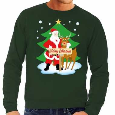 Foute kersttrui groen kerstman rudolf heren