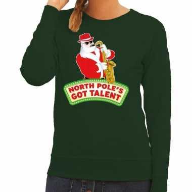 Foute kersttrui groen kerstman saxofoon dames