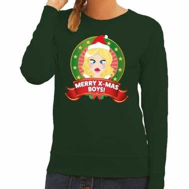 Foute kersttrui groen kerstvrouwtje dames