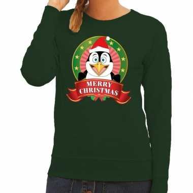 Foute kersttrui groen pinguin dames