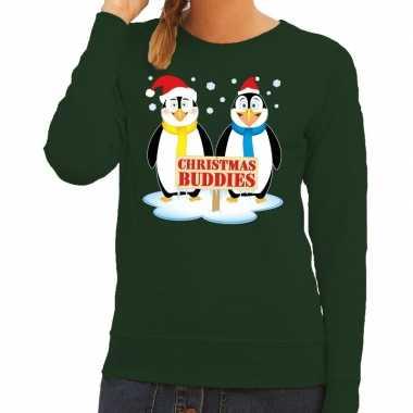 Foute kersttrui groen pinguins dames