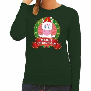 Foute kersttrui groen unicorn dames