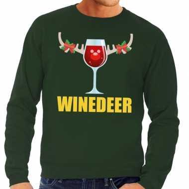 Foute kersttrui groen wijntje heren