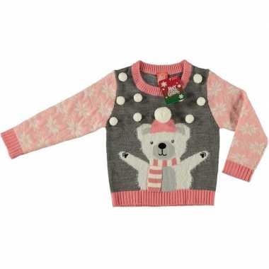 Foute kersttrui ijsbeer grijs meisjes maat /