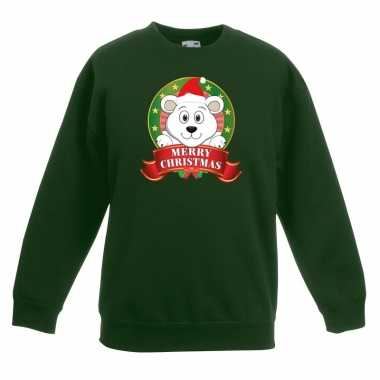 Foute kersttrui ijsbeer groen jongens meisjes