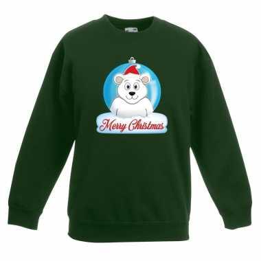 Foute kersttrui ijsbeer kerstbal groen jongens meisjes