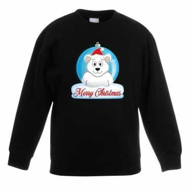 Foute kersttrui ijsbeer kerstbal zwart jongens meisjes