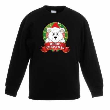 Foute kersttrui ijsbeer zwart jongens meisjes