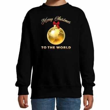 Foute kersttrui / kerstkleding zwart merry christmas to the world kinderen
