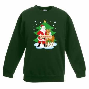 Foute kersttrui kerstman rendier kerstboom groen jongens meisjes