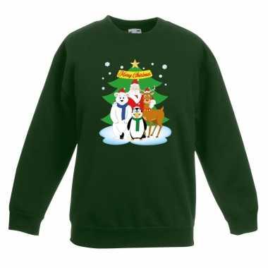 Foute kersttrui kerstman vrienden kerstboom groen jongens meisjes