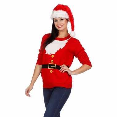 Foute kersttrui kerstmannen pak dames