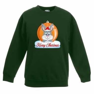 Foute kersttrui konijn kerstbal groen jongens meisjes