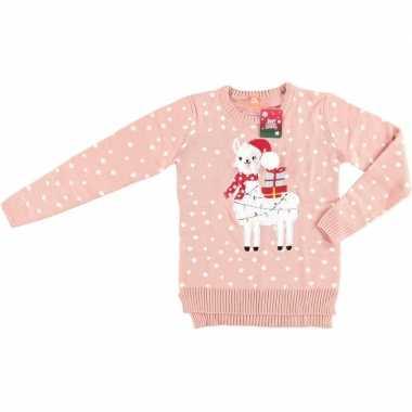 Foute kersttrui lama/alpaca roze vrouwen