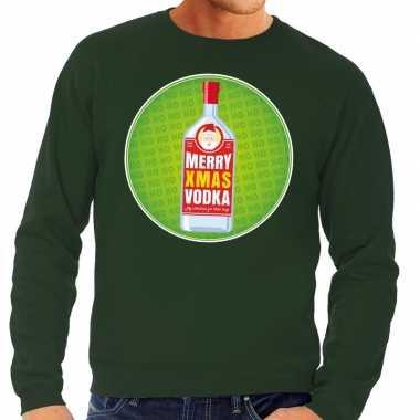 Foute kersttrui merry x mas vodka groen heren