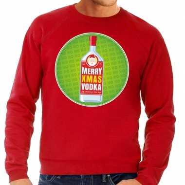 Foute kersttrui merry x mas vodka rood heren