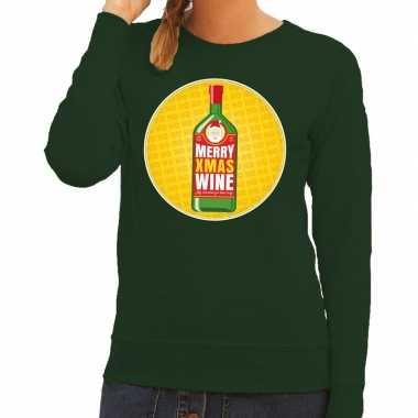 Foute kersttrui merry x mas wine groen dames