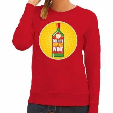 Foute kersttrui merry x mas wine rood dames
