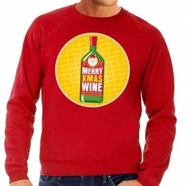 Foute kersttrui merry x mas wine rood heren