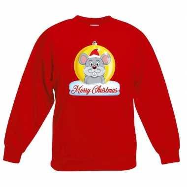 Foute kersttrui muis kerstbal rood jongens meisjes