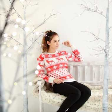 Foute kersttrui nordic print rood/wit dames