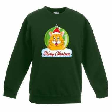 Foute kersttrui oranje kat / poes kerstbal groen jongens meisjes