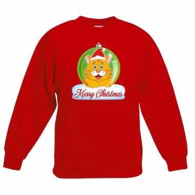 Foute kersttrui oranje kat / poes kerstbal rood jongens meisjes