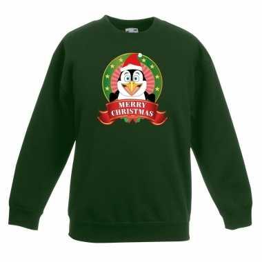 Foute kersttrui pinguin groen jongens meisjes