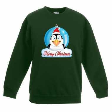 Foute kersttrui pinguin kerstbal groen jongens meisjes