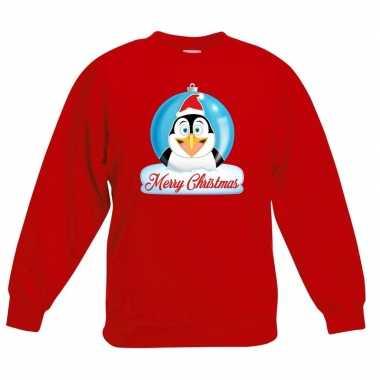 Foute kersttrui pinguin kerstbal rood jongens meisjes