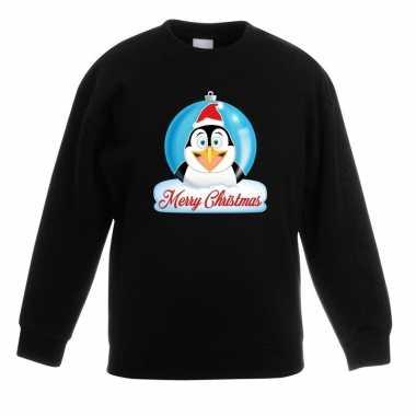 Foute kersttrui pinguin kerstbal zwart jongens meisjes