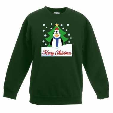Foute kersttrui pinguin kerstboom groen jongens meisjes